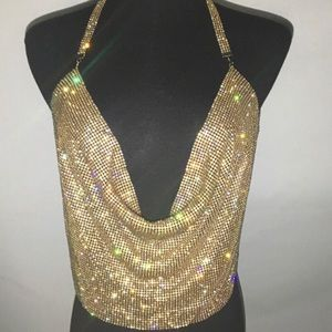 Gold Rhinestone Halter Backless Camisole Crop Top